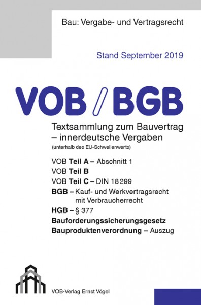 VOB/BGB Textsammlung zum Bauvertrag - innerdt. Vergaben